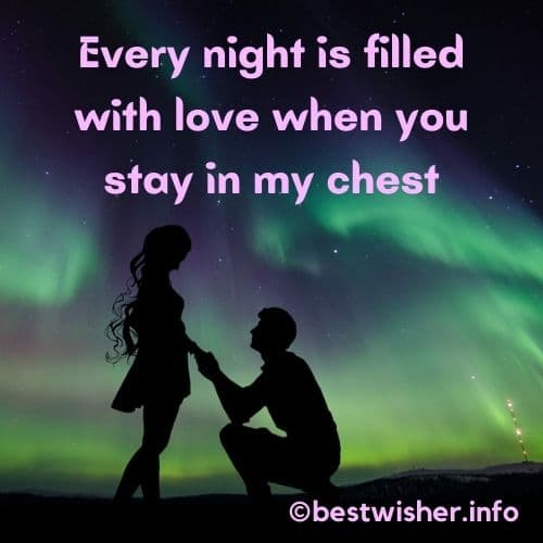 every night is filled with love when you stay in my chest
