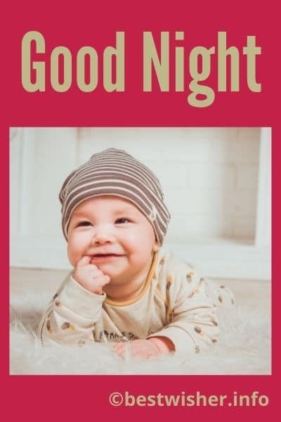 good night with a cute baby image