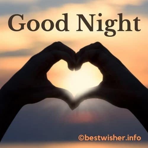 good night with hand curved heart sign