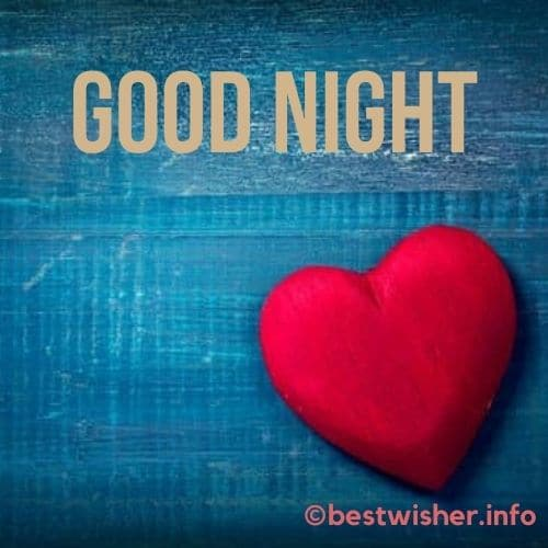 heart sign on a wooden board with good night